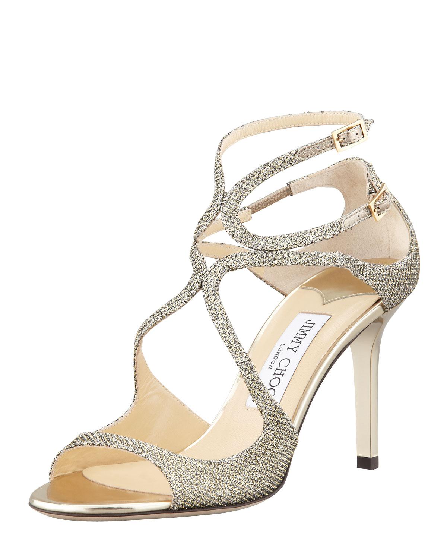 d5d45bcec2d Jimmy Choo Ivette Glitter Fabric Crisscross Sandal