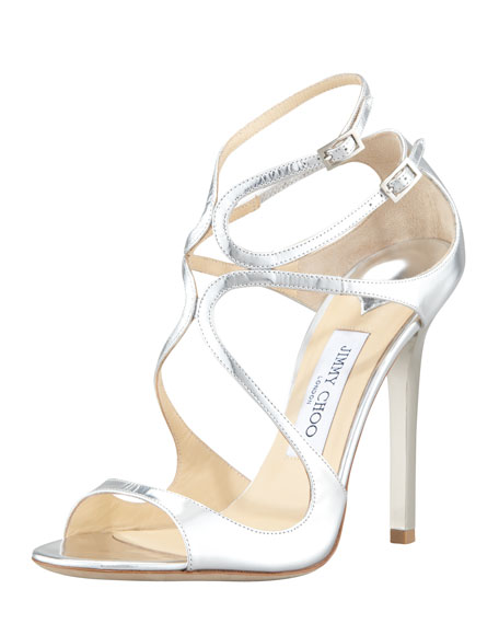 Jimmy ChooLang Metallic Strappy Sandal, Silver