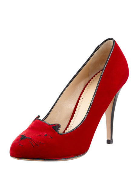 Kitty Cat-Embroidered Velvet Pump, Red