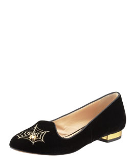 Charlotte Olympia Charlotte's Web Embroidered Velvet Slipper, Black