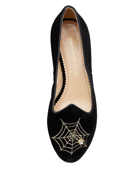 Charlotte's Web Embroidered Velvet Slipper, Black