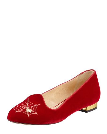 Charlotte's Web Embroidered Velvet Slipper, Red