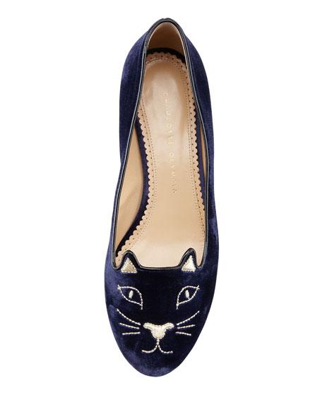 Kitty Cat-Embroidered Velvet Slipper, Navy