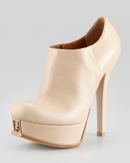 Fendi Fendista Leather Platform Ankle Boot