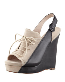 10 Crosby Derek Lam GI Colorblock Lace-Up Wedge Heel, Tan