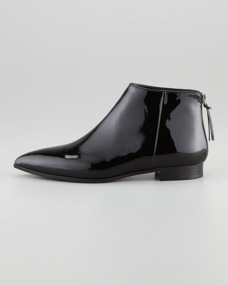 Patent Leather Flat Below-Ankle Boot, Black