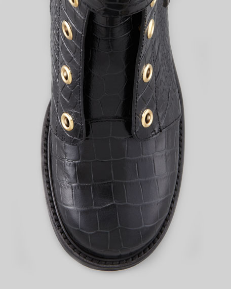 Embossed Laceless Combat Boot