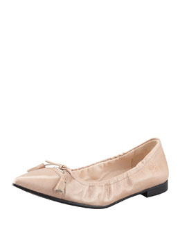 Prada Leather Tassel Pointed-Toe Ballet Flat