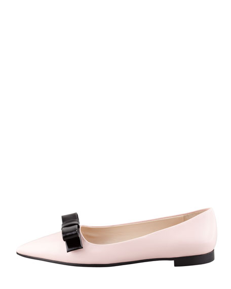 Prada Bicolor Pointed-Toe Bow Flat, Pink/Black