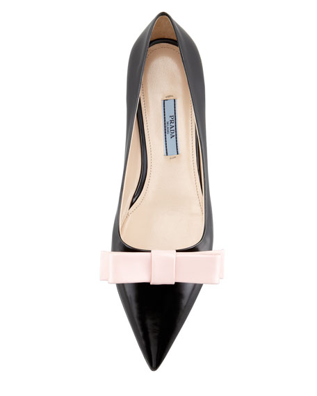 Bicolor Pointed-Toe Bow Flat, Black/Pink
