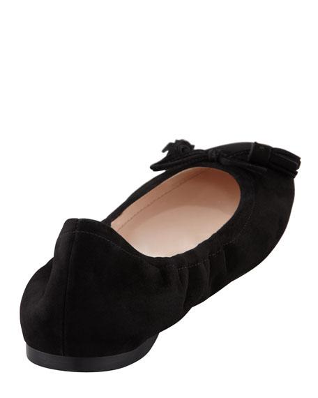 Suede Tassel Ballet Flat, Black