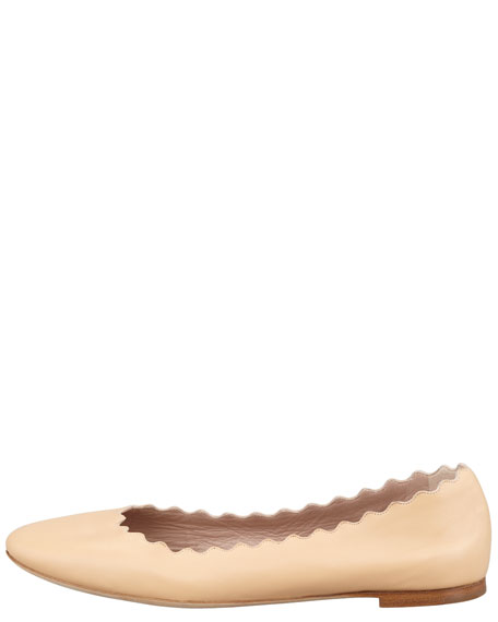 Scalloped Leather Ballerina Flat, Beige