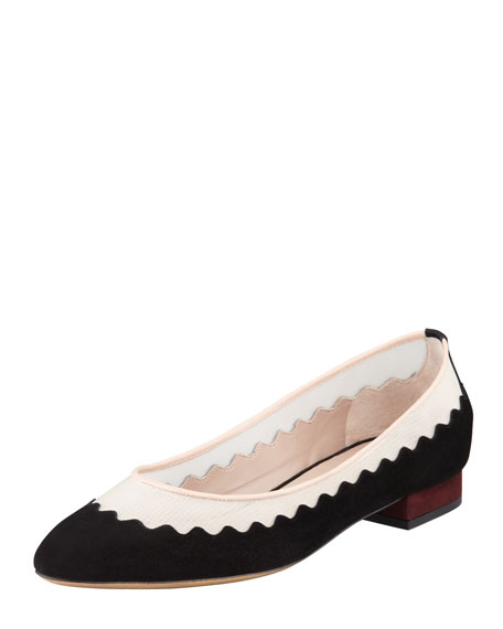 Scalloped Suede-Mesh Ballerina Flat