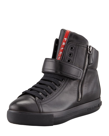 Leather Front-Strap Hidden Wedge Sneaker