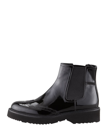 Patent Leather Slip-On Ankle Boot, Black