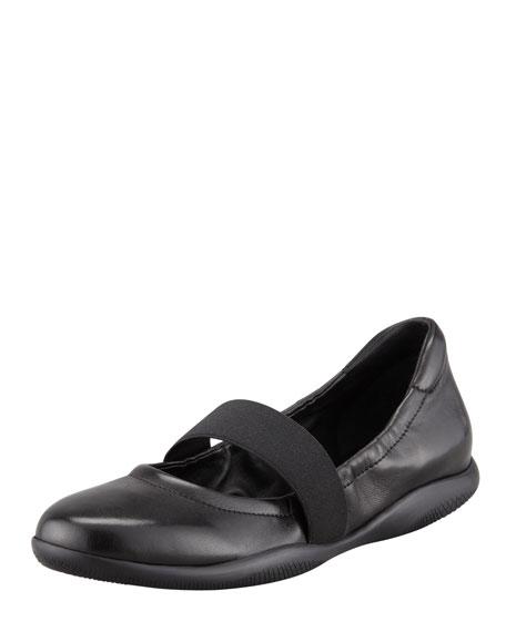 Leather Elastic Band Ballerina Flat