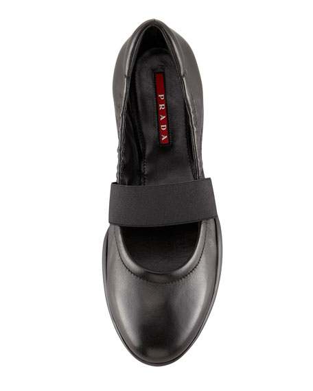 Leather Elastic Band Ballerina Flat