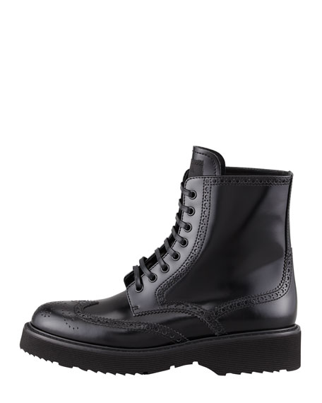 Spazzolato Wingtip Lace-Up Boot