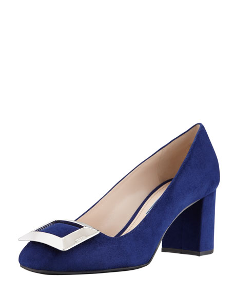Suede Buckled Block-Heel Pump, Navy