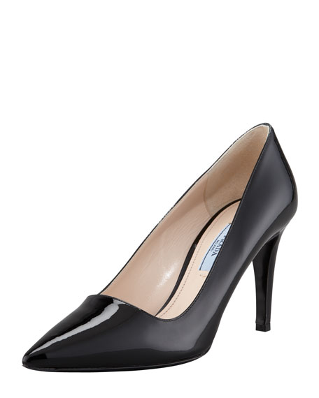 Patent Pointed Toe Pump, Black