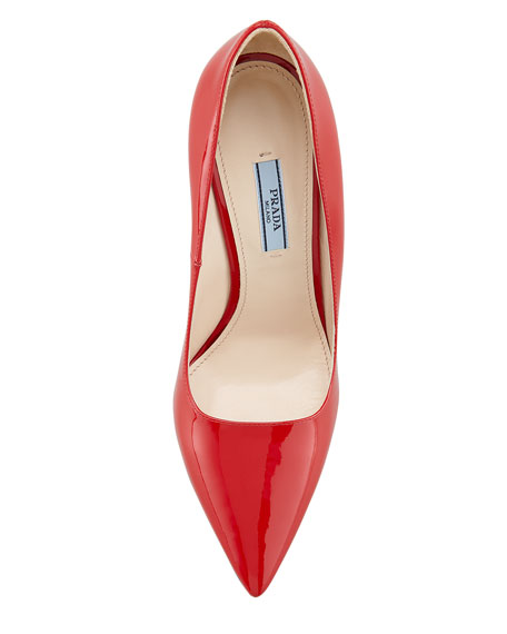Patent Pointed-Toe Pump, Red