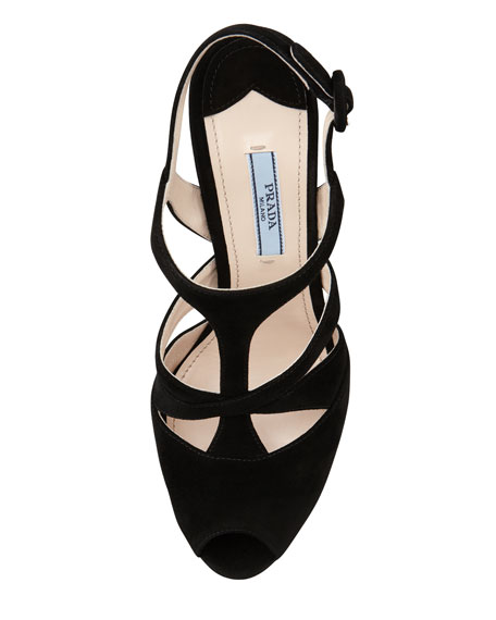 Suede Caged Platform Slingback Sandal, Black