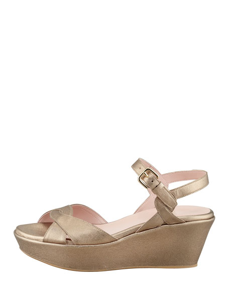Stuart Weitzman Lockness Metallic Flatform Wedge