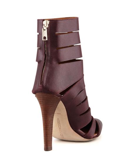 Debra Cutout Leather Bootie, Dark Brown
