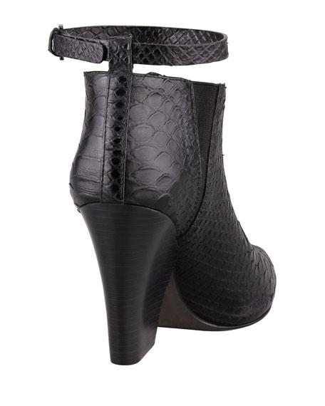 La Roux Snake-Print Ankle-Wrap Bootie