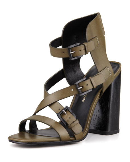Pip Buckled Wood-Heel Sandal
