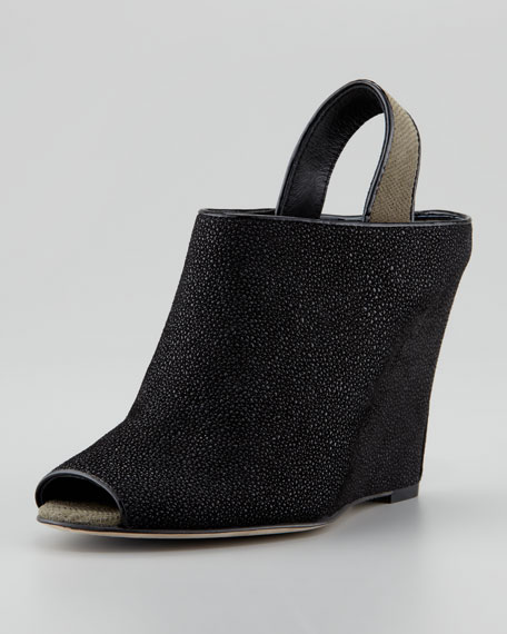 Rubberized Stingray Wedge Bootie, Black