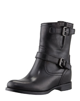 Prada Double-Buckle Hidden Wedge Ankle Boot, Black