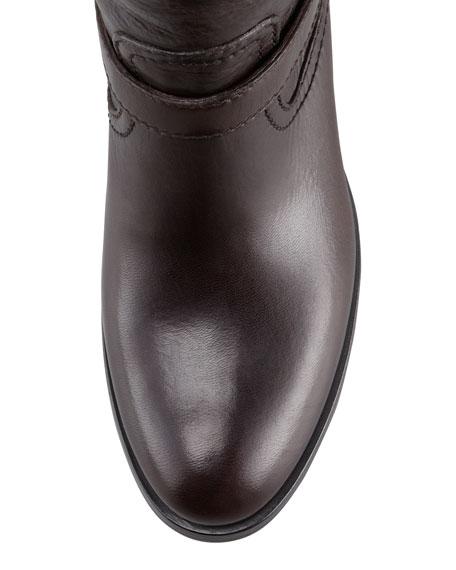Double-Buckle Hidden Wedge Ankle Boot, Dark Brown
