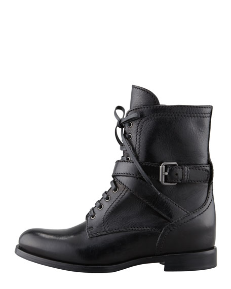 Lace-Up Hidden Wedge Combat Boot