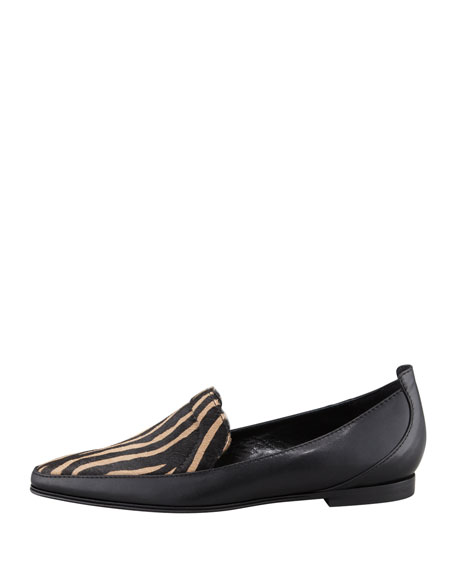 Raena Tiger-Print Calf Hair Loafer, Black/Cognac