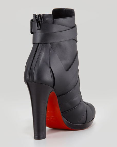 Lamu Leather Lace-Up Platform Red Sole Bootie, Black