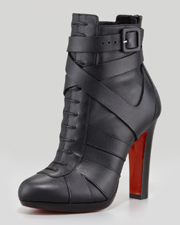 Christian Louboutin Lamu Leather Lace-Up Platform Red Sole Bootie, Black