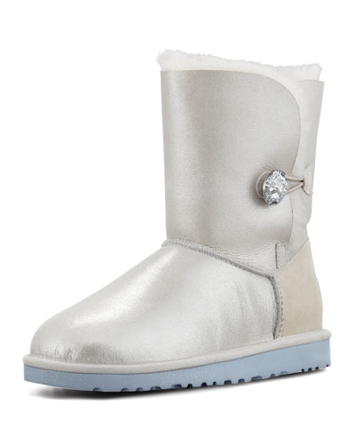 I Do! Bailey Short Crystal Button Bridal Shearling Boot, White