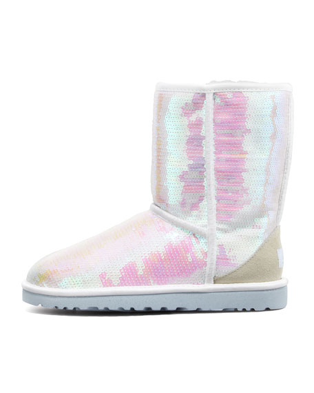 I Do! Sparkles Short Bridal Shearling Boot, White