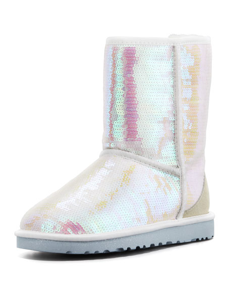 I Do Sparkles Short Bridal Shearling Boot White