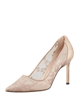 Manolo Blahnik BB Metallic Lace Pointed-Toe Pump, Nude/Gold