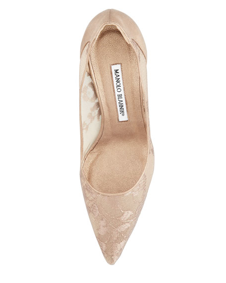 BB Metallic Lace Pointed-Toe Pump, Nude/Gold