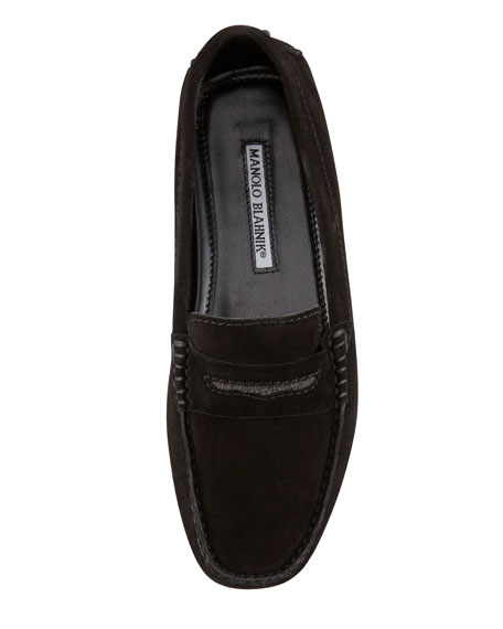 Terry-Trimmed Suede Driver, Black
