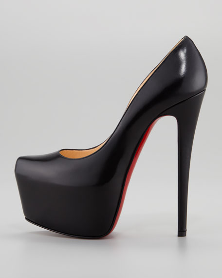 Daffodile Platform Red Sole Pump, Black