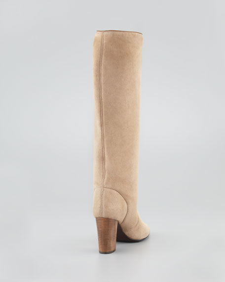 Suede Shearling-Lined Knee Boot