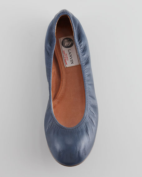 Classic Leather Ballerina Flat, Navy Blue