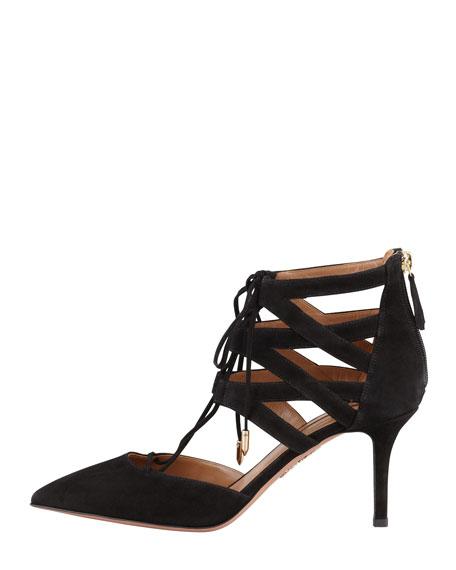 Belgravia Lattice Suede Sandal, Black