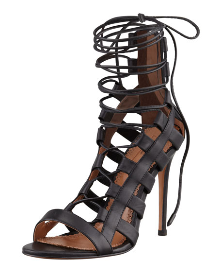 AquazzuraAmazon Lace-Up Ankle-Wrap Sandal
