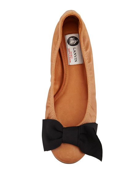 Grosgrain-Bow Leather Ballerina Flat, Cognac