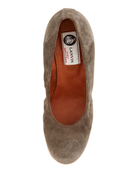 Suede Ballerina Wedge Pump, Gray